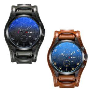 Rejäl klocka med brett armband äkta läder - Flera färger