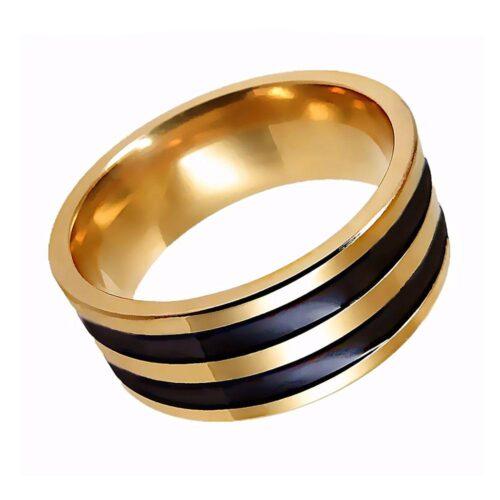 Bred guldfärgad ring i rostfritt stål m svarta linjer