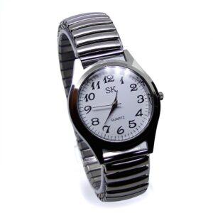 Klocka med elastiskt armband i stål - Svart / Vit