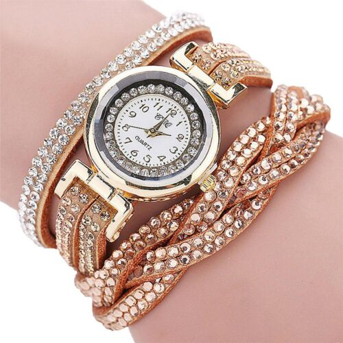 Glittrig damklocka med virat armband - Olika färger