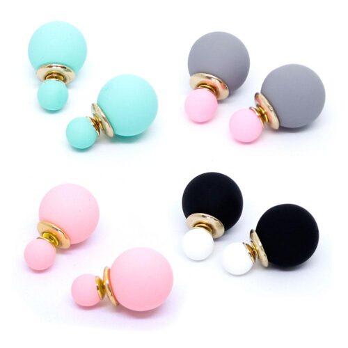 Örhängen - Stilrena dubbelbollar i olika färger