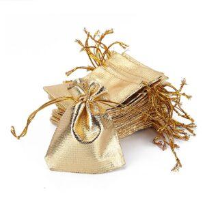 Giftbag / presentpåse med snöre i guld / silver 10-pack