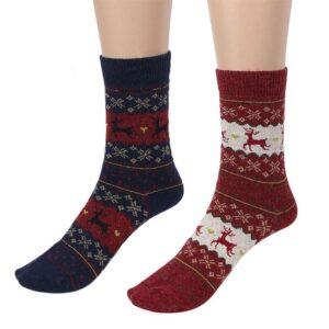 Strumpor i ull med julmotiv / renar - Olika färger