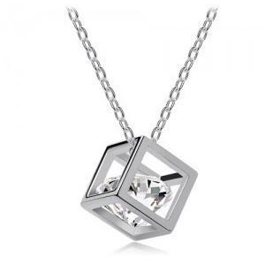 Halsband liten 3D-box med kristall - Olika färger