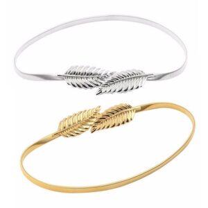 Smalt elastiskt metallbälte med lövspänne i guld eller silver