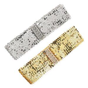 Brett elastiskt bälte med paljetter i guld, silver, svart eller rött