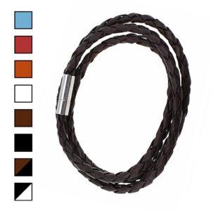 Enkelt armband i flätat konstläder - många olika färger