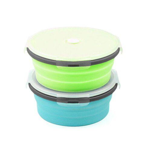 Ihopfällbar matlåda / förvaringslåda i silikon 500 ml Rund - Flera färger