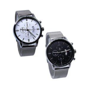 Klocka i silver / rostfritt med mesh-armband - Flera färger