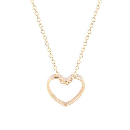 """Halsband med hänge - """"Heart Outline"""" Silver / Guld"""