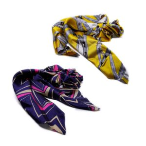 Hårsnodd Scarf Scrunchie - Flera färger / mönster