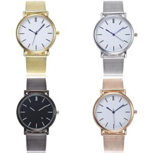 Enkel klocka i silver med mesh-armband i stål - Olika färger