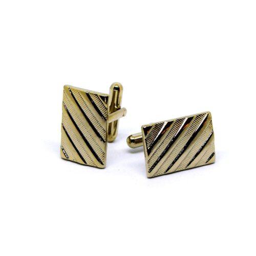 Manschettknappar Rectangle Striped - Guld / Silver