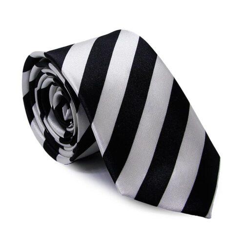 """Smal slips randig svart / vit """"Trent"""""""