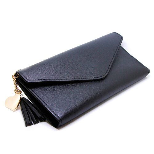 Rymlig enfärgad damplånbok med tofs - Svart