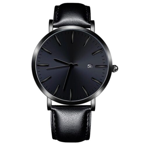 Stilren svart klocka med datum