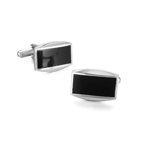 Manschettknappar - Stilrena rektangulära i silver och svart