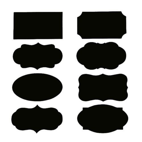 Svarta återanvändbara etiketter i olika design 40 st