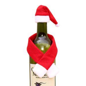 Juldekoration vinflaska - Tomteluva + halsduk