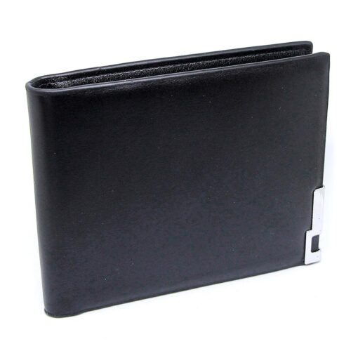 Svart slät herrplånbok i läder