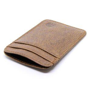 Tunn korthållare i läder vintage - Brun