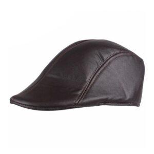 Flat Cap / Gatsby / Gubbkeps - Läderimitation - Brun