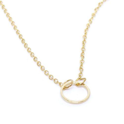 Halsband med enkel ring i guld