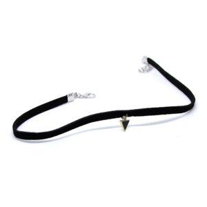Halsband choker i svart tyg m spetsigt guldhänge