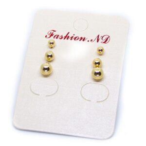 Örhängen minibollar i guld 3-pack