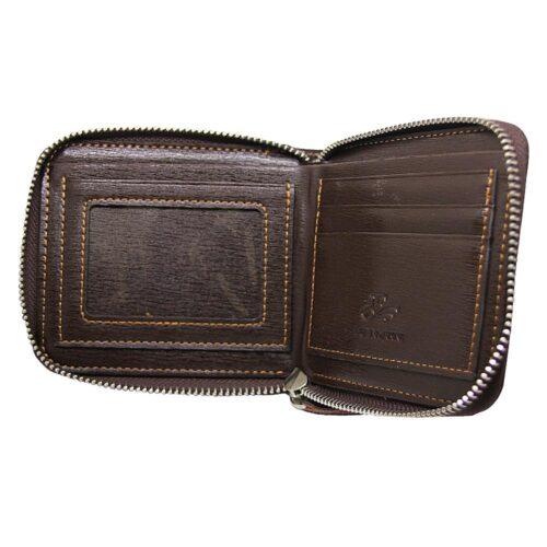 Rymlig plånbok i brunt konstläder