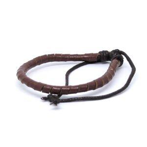Armband med virat läderband - Brun