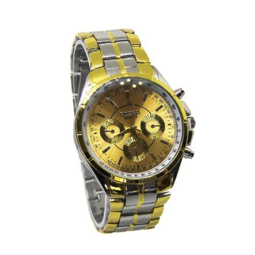 Elegant klocka i guld och silver med guldfärgad urtavla