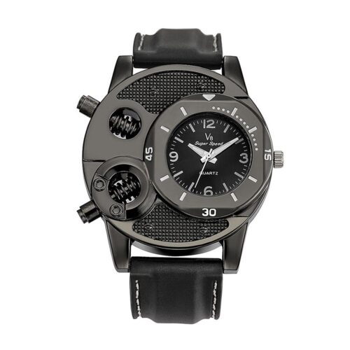 Annorlunda klocka i svart med silikonarmband