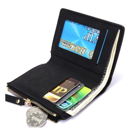 Smidig stående plånbok med dragkedja - Svart