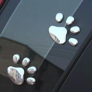 Bildekor stickers tassar hund 3D silver