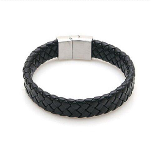 Elegant flätat armband i svart och silver