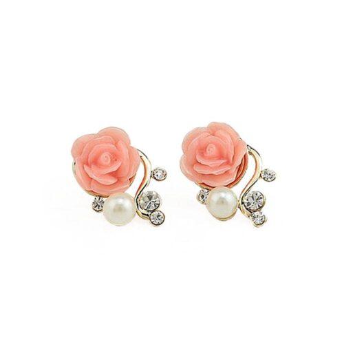 Örhängen - Liten ros med pärla och strass