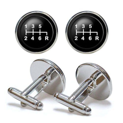 Manschettknappar - Växelspak i svart / silver