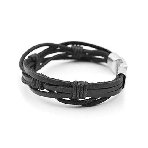 """Armband """"Triple Strap"""" med knäppning - Svart"""