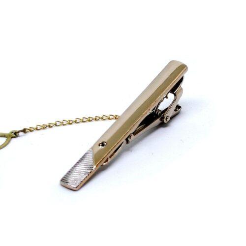 Slipsnål / Slipsklämma i guld med räfflad silverkant