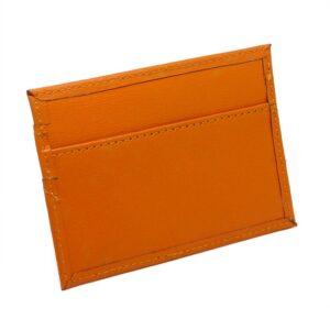 Tunn enkel korthållare i konstläder - Orange