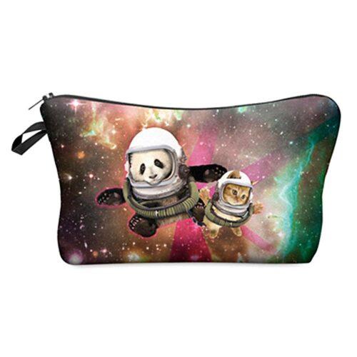 """Tuff sminkväska med tryck - """"Space Panda"""""""