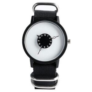 Minimalistisk tuff klocka med kanvasarmband - Svart / Vit