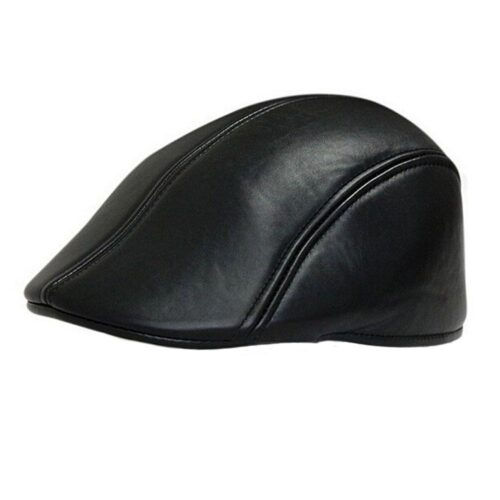 Flat Cap / Gatsby / Gubbkeps - Läderimitation - Svart