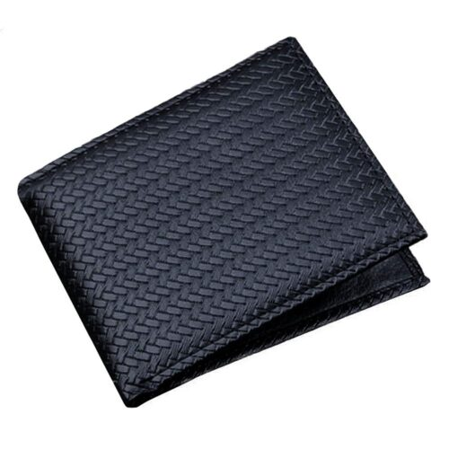 Flätad herrplånbok i läderimitation - Svart