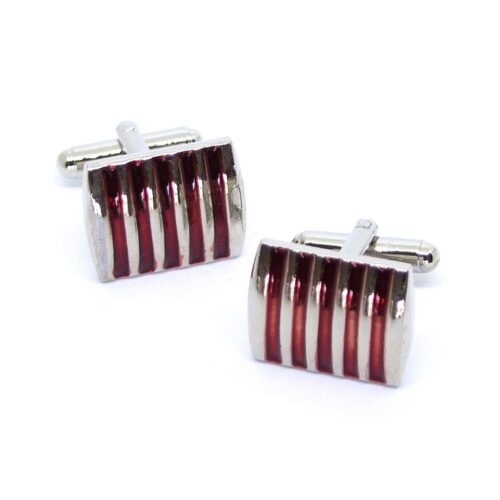 Manschettknappar - Silver med röda linjer
