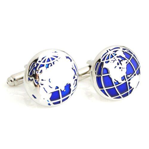 Manschettknappar - Världskarta i blått och silver