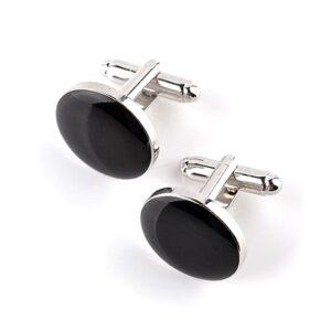 Manschettknappar - Runda i svart och silver