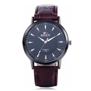 Elegant klocka i svart med rödbrunt armband
