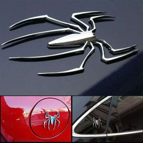 Bildekor / emblem 3D spindel i kromfärgad metall